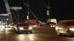 Stock Video Footage of Road traffic on the bridge in nighttime with stereo sound