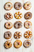 Large group of variously decorated donuts Stock Photos