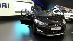 Black Hyundai i40 at automotive-show - stock footage