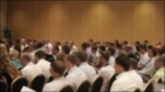 Many people came together at a conference or seminar. Blurred background - stock footage