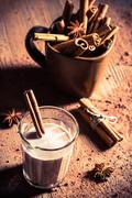 closeup of cocoa milk with cinnamon bark - stock photo