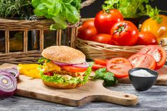 Hamburger with chicken, tomato and vegetables Stock Photos