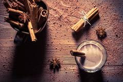 Closeup of cocoa with milk and cinnamon flavored Stock Photos