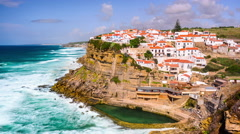 Azenhas do Mar, Portugal Coastal Town Stock Footage