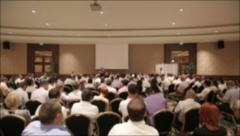 Many people came together at a conference or seminar. Blurred background Stock Footage