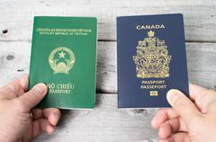 dual citizenship concept, vietnamese and canadian - stock photo