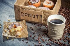 fresh donuts to take away - stock photo