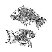 Drawing of  fish ,thai traditional art Stock Illustration
