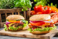 Two homemade hamburgers with fresh vegetables Stock Photos