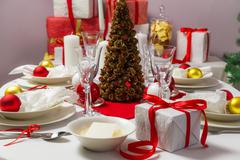 christmas eve table ready for supper - stock photo