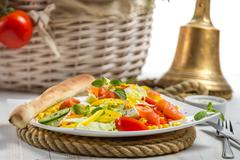 Closeup of healthy salad with salmon and fresh vegetables Stock Photos