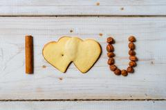 """i love you"" sentence arranged with cookies and nuts - stock photo"