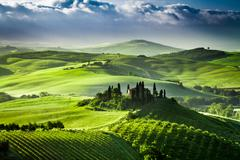 beautiful sunrise in the valley of san quirico d'orcia, tuscany, italy - stock photo