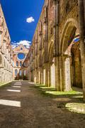 ruins of an old church in tuscany - stock photo