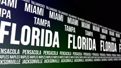 Florida State and Major Cities Scrolling Banner Stock Footage