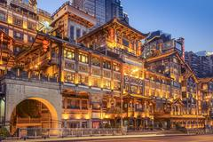 chongqing, china at hongyadong hillside buildings. - stock photo