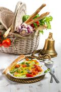 Healthy salad with salmon and fresh vegetables Stock Photos