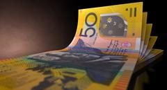 Australian dollar bank notes spread Stock Illustration