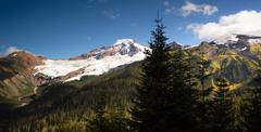 Horizontal panoramic mt baker heliotrope ridge cascade range Stock Photos