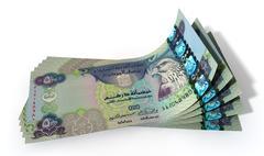 dirham bank notes spread - stock illustration