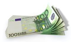 Euro bank notes spread Stock Illustration