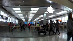 fast motion of apple store inside mall - stock footage