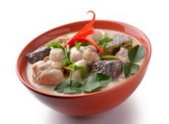 thaifood spicy chicken curry in coconut milk - stock photo