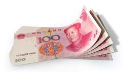 yuan bank notes spread - stock illustration