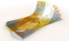 franc bank notes spread - stock illustration