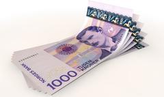 kroner bank notes spread - stock illustration