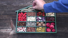 Wooden box with healthy food ingredient collection Stock Footage