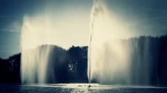Malmo windy  waterfall big splash fountain in river  Malmo Sweden Stock Footage