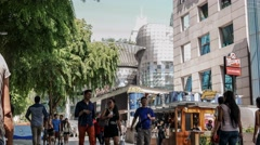 4k UHD time lapse video of a bustling pedestrian mall Orchard Road, Singapore Stock Footage