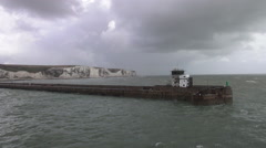 Ferry leaving Dover - white cliffs of Dover in the background Stock Footage