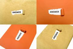 Answer word on paper Stock Photos