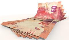 rand bank notes spread - stock illustration