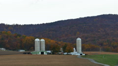 2412 Farm Buildings and White House with Mountian Behind During Fall, HD Stock Footage