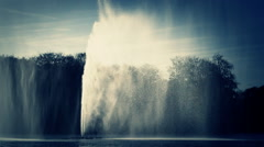 Waterfall big splash fountain in river  Malmo Sweden Stock Footage