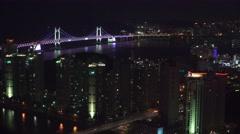 Aerial of The City Of Busan And Gwangan Suspension Bridge At Night 4K Stock Footage