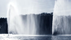 Big splash fountain in river  Malmo Sweden Stock Footage