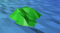 A green island in the sea in low-polygonal style Stock Footage