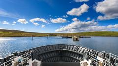 front of ferry boat at lerwick, shetland - stock photo