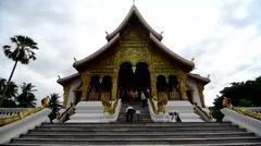Tourists visit Royal Palace of Luang prabang Stock Footage