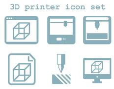 Vector icon set of 3d printing technology, flat blue isolated ic Stock Illustration