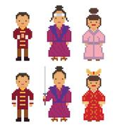 East Asia - Japan South Korea China Mongolia Man Woman People National Stock Illustration