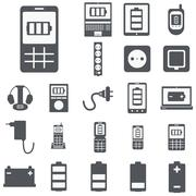 vector set of computer devices charging, battery, indicators, ad - stock illustration