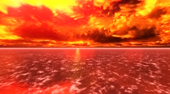 Fiery clouds over a blood-red lake. Stock Footage