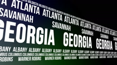 Georgia State and Major Cities Scrolling Banner Stock Footage