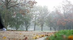 Morning run in the park Stock Footage