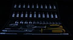 Box with automotive mechanic tools kit Stock Footage